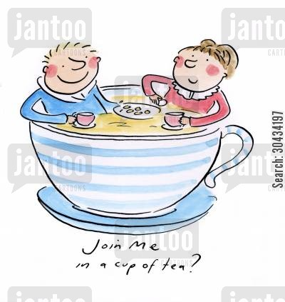 afternoon cartoon humor: Join me in a cup of tea!