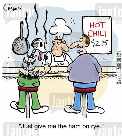 hot foods cartoon humor: 'Just give me the ham on rye.'