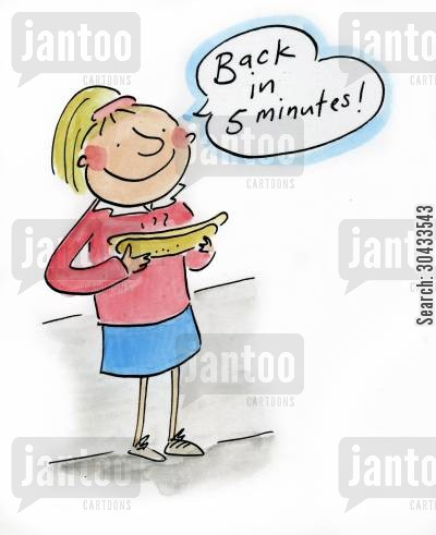 german sausages cartoon humor: Back in 5 minutes!
