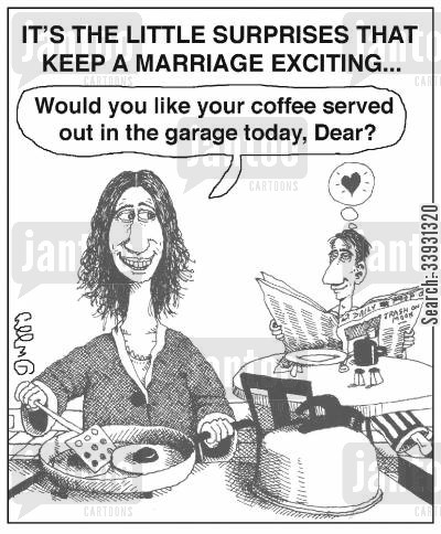 special treat cartoon humor: It's the little surprises that keep a marriage exciting...