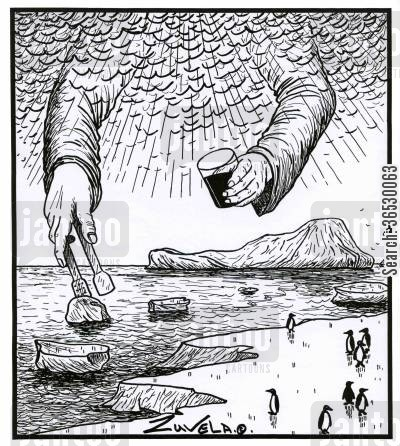 iceburg cartoon humor: God taking iceburgs with ice tongs for his whisky.