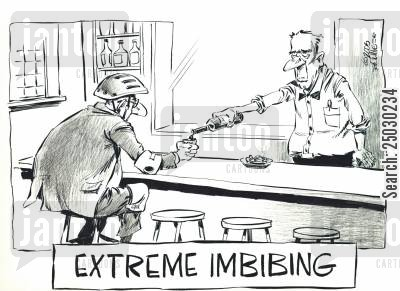 public house cartoon humor: Extreme Imbibing.