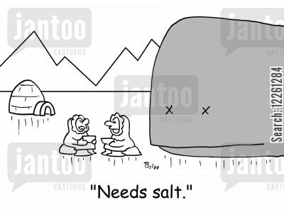 salty cartoon humor: 'Needs salt.'