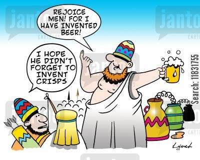 pub snacks cartoon humor: Rejoice me! For I have invented beer!