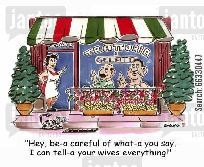 awning cartoon humor: Hey, be-a careful of what-a you say. I can tell-a your wives everything!