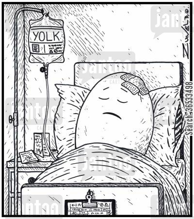 recover cartoon humor: An injured Egg in Hospital on a Yolk drip.