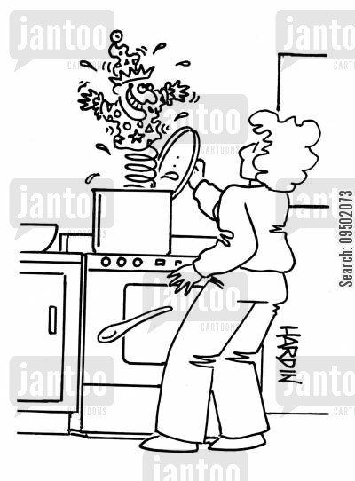 jack in a box cartoon humor: Woman finding jack-in-a-box in her saucepan.