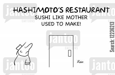 japanese food cartoon humor: Hashimoto's Restaurant - Sushi Like Mother Used to Make!