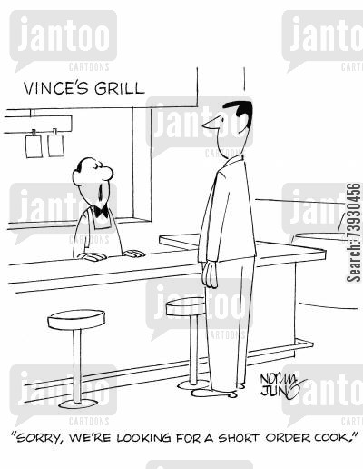 short man cartoon humor: 'Sorry, we're looking for a short order cook.'