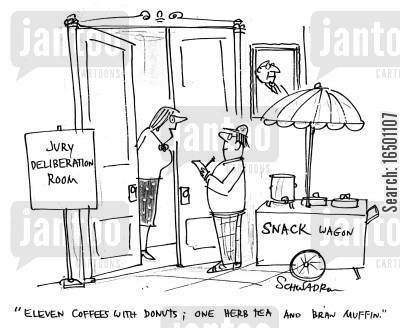 trifle cartoon humor: Eleven coffees with donuts; one herb tea and bran muffin.