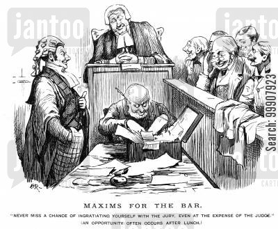 trial cartoon humor: Maxims for the Bar.