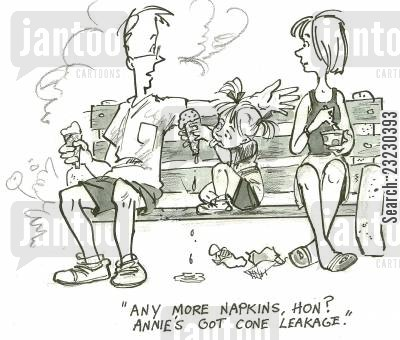 spring break cartoon humor: 'Any more napkins, Hon? Annie's got cone leakage.'