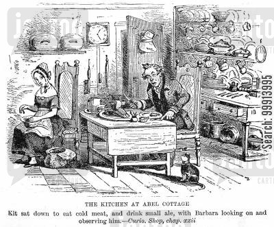 cold meat cartoon humor: The kitchen at Abel Cottage