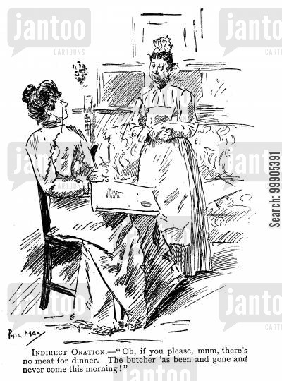 butchers cartoon humor: Maid Explaining to the Lady why there is no Meat