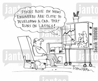 cappuccino cartoon humor: 'Stocks rose on news engineers are close to developing a car that runs on lattes!'