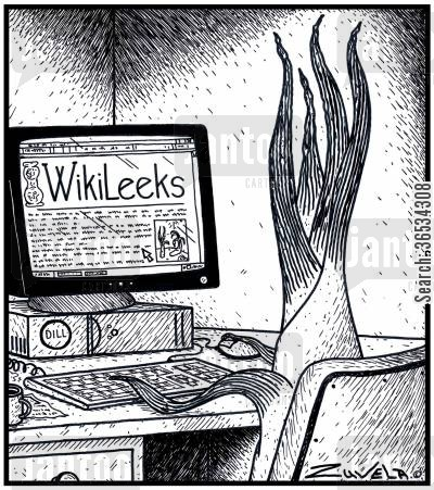 version cartoon humor: A Leek checking out the Leek World's version of WikiLeaks