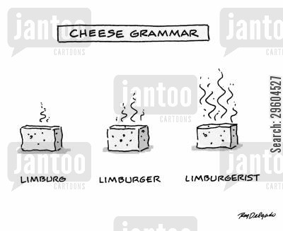 small cartoon humor: Cheese grammar.