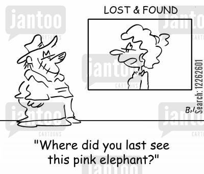 pink elephants cartoon humor: LOST & FOUND, 'Where did you last see this pink elephant?'