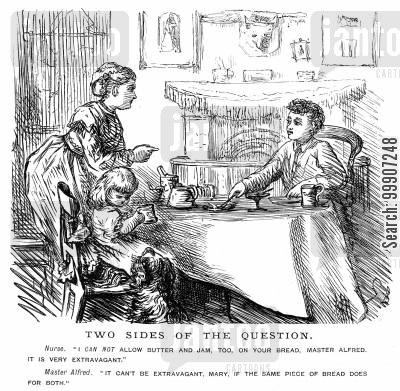 breakfast cartoon humor: A boy and a girl having a meal with their nurse