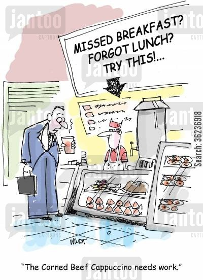 deli cartoon humor: 'The corned Beef Cappuccino needs work.'