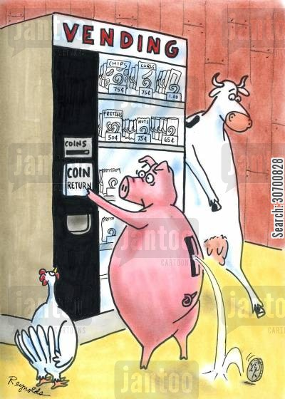 coin return cartoon humor: Vending machine - coin rolls out of pig's back.