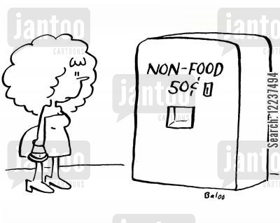 snack machines cartoon humor: Vending machine, non-food 50c.