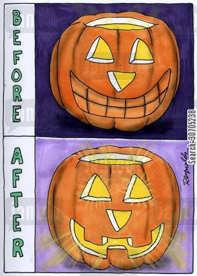 halloween decoration cartoon humor: Before and After.