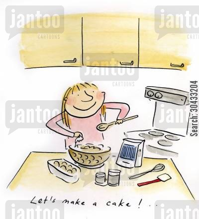 christmas cake cartoon humor: Let's make a cake...