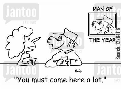 pub chat cartoon humor: MAN OF THE YEAR, 'You must come here a lot.'