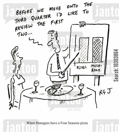 staff meal cartoon humor: When Managers have a Four Seasons pizza.