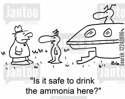 ammonia cartoon humor: 'Is it safe to drink the ammonia here?'