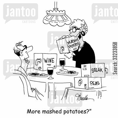 mashed potatoes cartoon humor: 'More mashed potatoes?'
