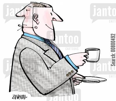 dual personality cartoon humor: Man with mask drinking tea.