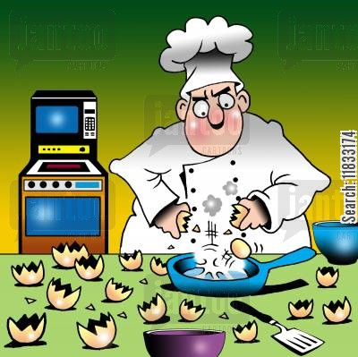 kitchen utensils cartoon humor: Russian eggs.