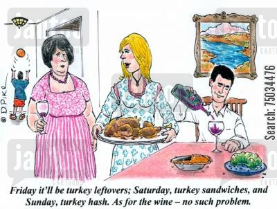culinary cartoon humor: 'Friday it'll be turkey leftovers; Saturday, turkey sandwiches, and Sunday, turkey hash. As for the wine - no such problem.'