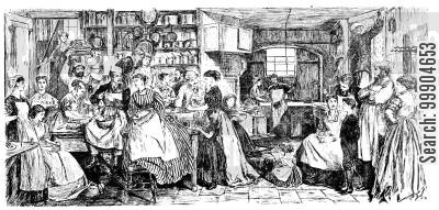 victorian kitchen cartoon humor: Social science congress in the kitchen.