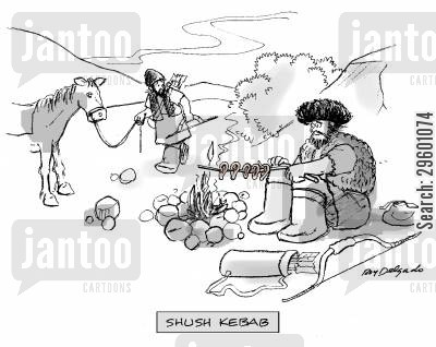 barbecuing cartoon humor: 'Shush kebab.'