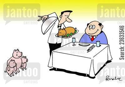 grievers cartoon humor: Man at restaurant is presented with his roast pig, as the pigs grieving family look on.