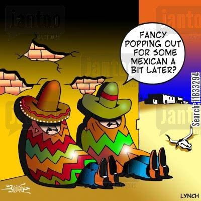 mexican restaurant cartoon humor: Fancy popping out for some Mexican a bit later?