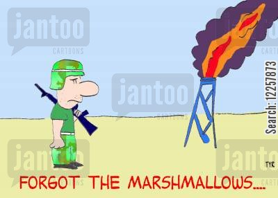 toasting marshmallows cartoon humor: Forgot the marshmallows....
