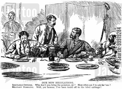 victorian soldier cartoon humor: Our new regulations.