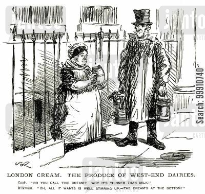 london cream cartoon humor: Cook complaining to milkman