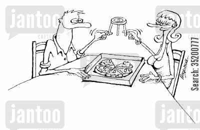 take away cartoon humor: Couple sharing the plastic widget from a pizza box like a chicken's wish bone