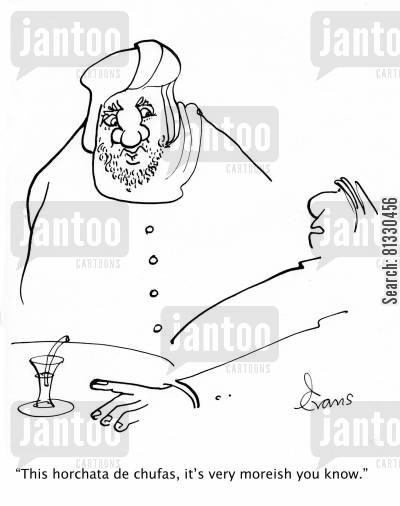 moor cartoon humor: 'This horchata de chufas, it's very moreish you know.'