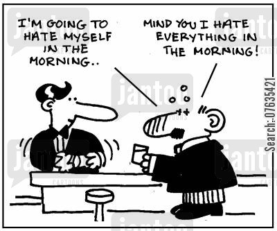 morning person cartoon humor: I'm going to hate myself in the morning, but I hate everything in the morning.