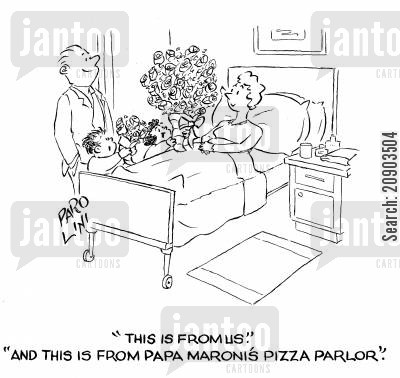 pizza parlour cartoon humor: 'This is from us.' 'And this is from Papa Maronis Pizza Parlour.'