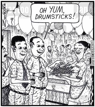drumming cartoon humor: Man: 'Oh YUM, Drumsticks!'