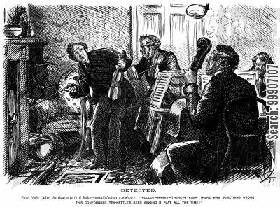 boiled kettle cartoon humor: Some musicians discovering a noise from a boiling kettle