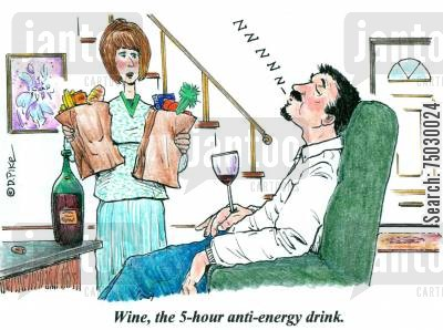 side effect cartoon humor: 'Wine, the 5-hour anti-energy drink.'