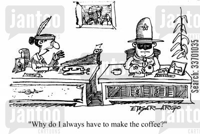 coffee runs cartoon humor: 'Why do I always have to make the coffee?'